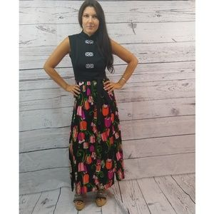 70s maxi gown with floral skirt